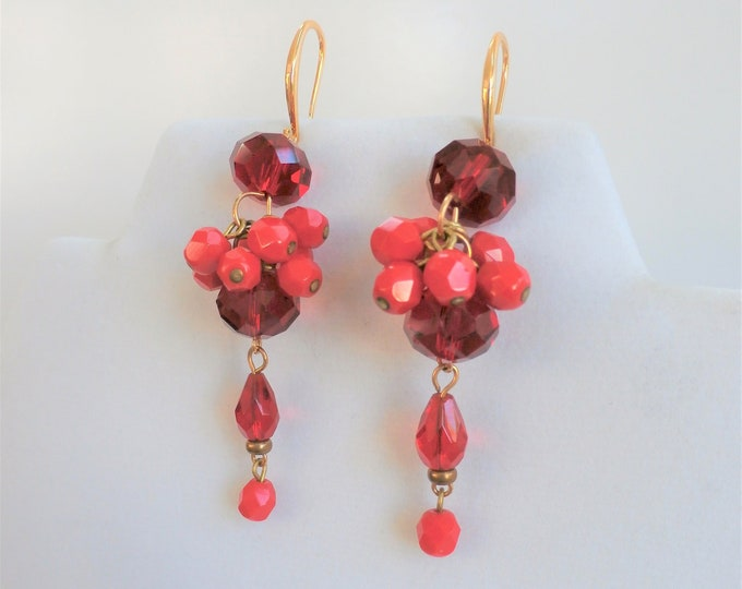 Featured listing image: Red cluster dangle bead earrings, 14k gold ear wires, cluster of faceted acrylic beads, wired together for drop of red color