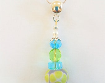 Lamp-work glass,floral bead Pendant,Blue Lampwork bead,Czech beads,faceted crystal necklace,silver spacers,Green glass bead