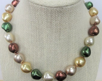 "Large Pearl 17"" Choker, Green Gold Brown White Beige 12 X 15 mm egg shaped beads, gold magnet closure, hand knotted, excellent quality"