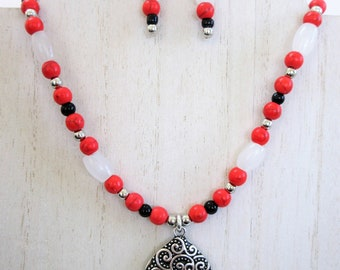 White Jade and black obsidian bead necklace earring set,red stone beads, sterling silver beads, 2 sided pendant,double hook, ear wires, bail