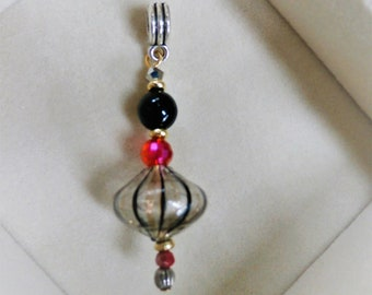 Glass Bead Pendant, Venetian Lantern - Hand blown Clear, Gold and Black glass, Black ball and red crystal, Pendant,silver bail,