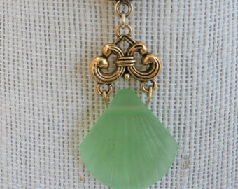 "Seaglass Shell Pendant Emerald Green,Hand wire gold fancy bail,20""gold snake chain,lobster closure,3 colors-Emerald or Pale Green,Royal blue"