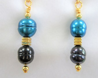 Teal and Navy Blue Honora pearls and 14K gold Antique Asian cube and teardrop bead earrings, handcrafted gold wires,excellent gold ear hook