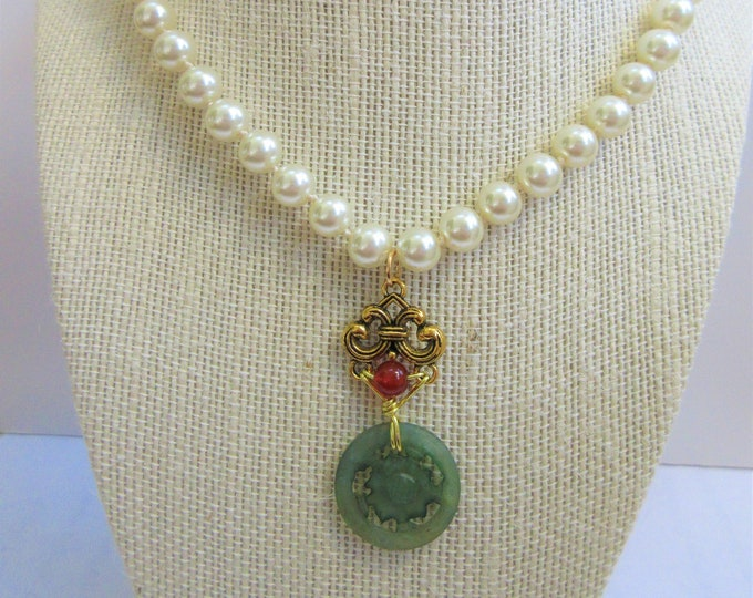 """Featured listing image: White pearl necklace, 18"""" long hand tied glass 9 mm pearls,Antique carved jade coin, hand wired onto connector w/Carnelian Bead,gold lobster"""