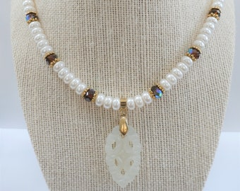 "Pearl Necklace, Beautiful & Exotic - Pearl/Jade 19"" Bead Choker,pearl rondelles, Aurora Amber Crystals,2"" Carved Jade pendant,w/gold toggle"