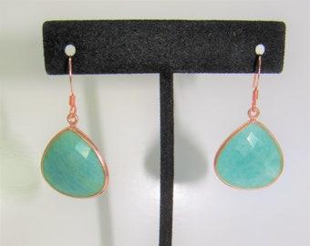 Amazonite Teardrop Earrings,Rosegold Amazonite earrings,Rose Gold Bezeled set,Copper earwires,Large Amazonite stone,Faceted Amazonite stones