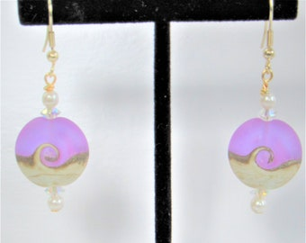 Ocean Wave Bead,Glass Earrings,Frost Lavender,Glass Beach Wave,Genuine Pearls,Choice Sterling Plate,Gold Plate Ear wires,Pendants Available