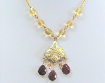 """Gold & Silver Leafed Indian necklace, 3 Natural Ruby beads 7 Crystals,6 Semiprecious Pear Beads, 16"""" gold chain, 2"""" Brass extender,2 sided"""