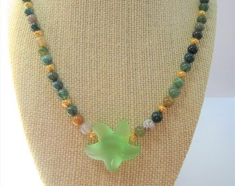 """Green Agate bead Starfish Necklace,Frost green sea glass starfish wired on 6mm beads of colorful gemstone,filigree 14K gold beads, 21 """" long"""
