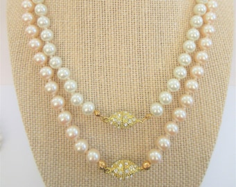 Hand Knotted 8mm glass pearls strands, Rhinestone encrusted gold magnetic clasps, Oval and Turtle clasps, 2 colors , blush and white pearls