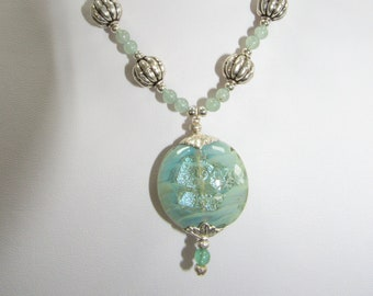 Seafoam Green,Jade Necklace,Lampwork Sterling Melon Beads,Solid Silver Leaf caps,Silver spacer beads,One of a Kind,Two side foiled Lampwork,