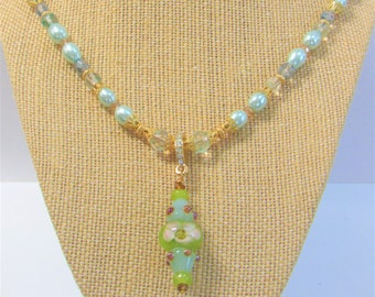 Lamp-work Blue Crystal Floral Bead Necklace,22 in.Blue Oval Glass Pearls,Pale Crystal beads,Gold Filigree Caps, Beads,Lobster,Crystal bail