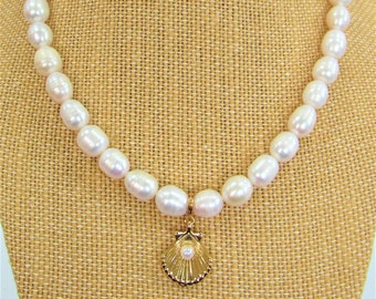 Genuine Freshwater pearls,scallop pearl charm,removable charm enhancer,reversable charm,10mm ringed pearls,Beach wedding, White pearl strand