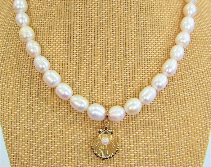 Featured listing image: Genuine Freshwater pearls,scallop pearl charm,removable charm enhancer,reversable charm,10mm ringed pearls,Beach wedding, White pearl strand