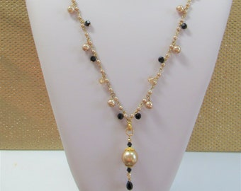 """Mocha Pearl Necklace/Earring Set,Jet & Beige Crystal """"CHA CHA"""" 28"""" necklace,3"""" pendant, 2 inch ER,Handmade,Vintage Beads,Gold wire,Only 1"""