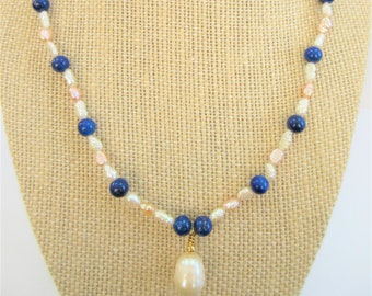 Genuine Pearl Lapis Lazuli Necklace, 20 Inch hand strung white & blush seed pearls,5mm lapis beads,14mm baroque pearl handwired in gold