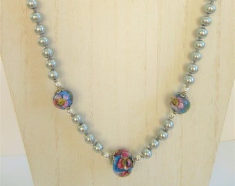 Lamp work Blue Crystal Floral 3 Bead 22 in. hand-knotted Necklace,Shades of Grey glass pearls,.925 beads,Sterling fish clasp,acrylic thread