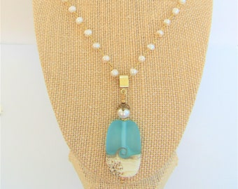 "Beach Wave Pendant Tablet Shape,Pearl 22""genuine white pearl/gold rosary,Lamp-work Frost Teal Glass,Sandy Beach ,Starfish,pale blue Crystal"