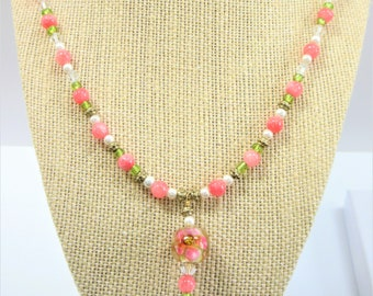 Lamp work Crystal Flower Bead Pendant 20 in.Necklace,Handcrafted floral glass focal,coral quartzite,green glass,14K gold bead,screw close