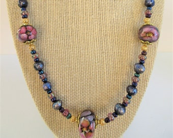 Lamp work Crystal Floral 3 Bead,22 in Necklace,Shades of Purple iridescent genuine lg.pearls,glass beads,14K gold beads,antique gold toggle