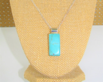 Genuine Turquoise Silver Necklace,Turquoise rectangle slab,Turquoise pendantTurquoise silver pendant,Mexico silver,Robins egg blue,Vintage