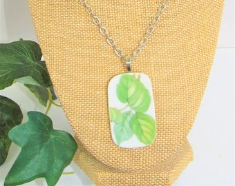 Porcelain green leaf,Pendant,Tablet pendant,Green plant porcelain,sterling chain and bail,Green painted leaf,porcelain pendant,green leaf