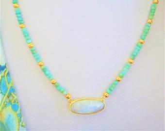 Amazonite Bead,Amazonite Rondelle,Moonstone Bezel set,Amazonite Necklace,Amazonite Gold,Aqua Bead,Amazonite Moonstone,Moonstone Bar Necklace