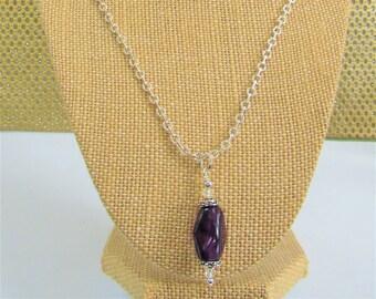 Polished Amethyst Pendant,soft cube Pendant, Silver chain,Vintage caps,silver caps,silver chain,20 mm amethyst stone,Genuine amethyst,Pretty
