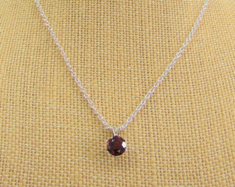 Round 8mm Faceted Garnet Pendant Sterling Silver Setting, 18 inch Sterling Cable Chain, NEW Red stone Clear saturated color, Cable Chain 3mm
