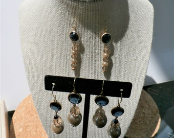 Blue glass beveled,pearl earrings,faceted Blue glass,vintage pearls,crystal beads,gold bead caps,post,fishook,leverback,Vintage earrings