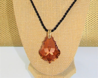 """Swarovski Amber Baroque Pendant,50 X 43 mm Large 2 side cut crystal,Gold Floral Bail,Black Satin twist 18"""" cord,Flat Back,Use your chain"""