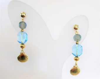 Blue Crystals & 14K scallop shell Earrings,Faceted blue crystal,gold beads,Dangle earrings w/ 14K gold posts,charm and wires ,One of a kind