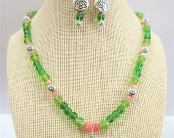Green Lotus Flower bead Necklace Earring Set, Coral & silver ball beads and Lotus pillow beads, Sea Glass drop green glass Hand crafted