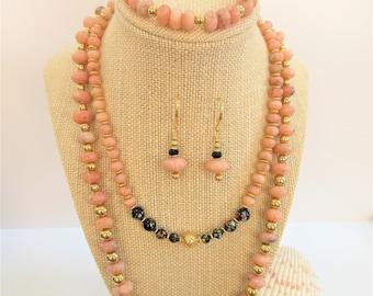 Rhodochrosite Beads,Salmon Pink,Pink Gemstone Bead,Jewelry Set,rhodochrosite,Chokers,Bracelets set,Pendant Earrings set,Vintage 14K beads