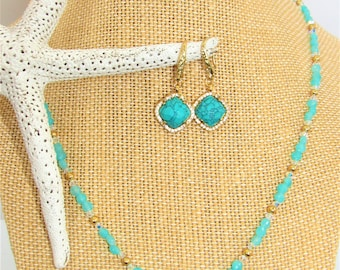 Amazonite Set Necklace,Turquoise earrings set,Necklace Earring Set,Amazonite Gold Turquoise,Jewelry Set,Aqua bead jewelry,Gemstone jewelry