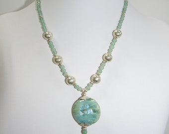 Green Jade Necklace,Lampwork Glass,Sterling Beads,Solid Silver Leaf caps,Silver spacer beads,One of a Kind,Two side foiled Lampwork,Lobster