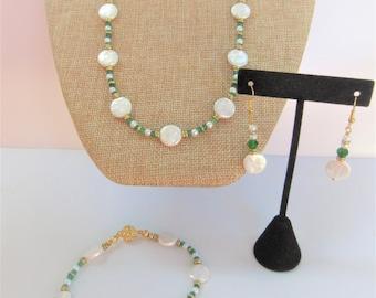 Pearl Green Onyx Jewelry Set,Genuine Freshwater pearl jewelry,Set Pearl Jewelry,Green Onyx Gold pearl Suite,Bridal jewelry,Pearls,Green Onyx
