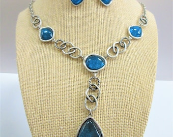 Antique Silver and blue Necklace and Earrings set, Avon Bold Blue accents w/rope chain styling,dangle pierced earrings,blue cabochon insert