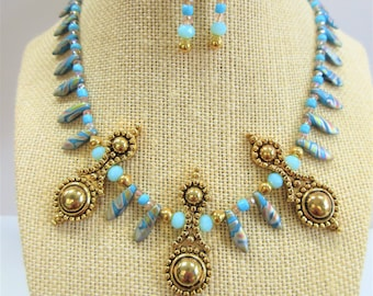 "Egyptian Necklace and Earrings set,Czech Dagger bead,14K gold beads,3 ornate accents,Faceted crystal beads,Ball post/clutch ER,16"" w/3""ext."