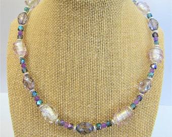 "Lavender Crystal Necklace,Vintage Lampwork Spiral beads,Facet Ovals,Purple Jade Balls,Cut Crystal aurora cubes,Silver Rondelles,18"" choker"