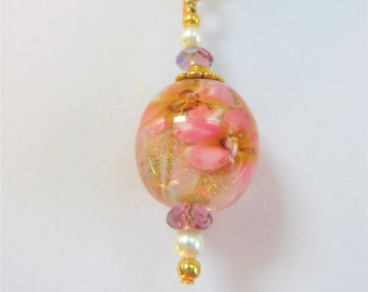 """Lamp work Pink Floral Bead Rose Quartz Necklace, 21 in"""" Necklace,Rose Quartz matching PC earrings,Pink crystals 14K gold bead, lobster clasp"""