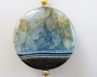 Polished Black/Blue quartz pendant,Shades of blue,amber,green,grey,Hematite chain beads,Banded stone,Gold bail & bead,Handwire, Lobster claw