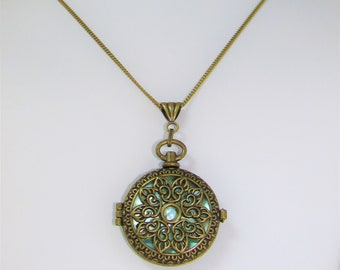 Bronze Filigree Blue Mother of Pearl Locket, Long chain, removable Blue shell insert, 2 sided beauty, Victorian