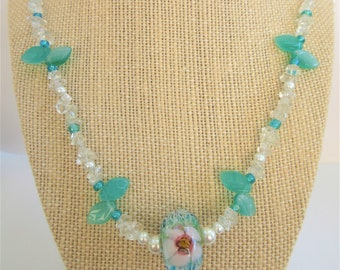 Lamp work Aqua Crystal Floral Bead Necklace,25 in. clear polished quartz nuggets,pearls,green glass leaves,Sterling Lobster clasp,handwired