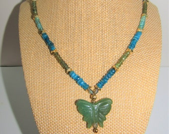 Neon Apatite Necklace,Green Jade Pendant,Faceted Apatite Beads, Gold plated beads,Jade ButterflySparkling Apatite Heishi beads
