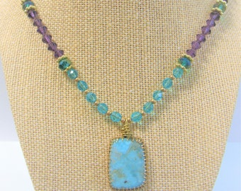 Larimar Cabochon & Purple Aqua Crystal Bead Necklace,Rectangle Pendant,14K Gold framed pendant, beads,Lobster clasp/ring,Exotic Piece