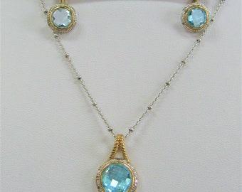 Blue Topaz SET,Pendant & Earrings,Blue Topaz, Diamonds, 14K Gold, Sterling Silver,Pendant,Silver Beaded Chain,8-10mm Topaz,Topaz Jewelry Set