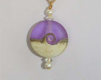 Beach Wave,Large Lavender Pendant,Lamp work Glass Beach Wave, Genuine Pearls, Sterling Chain,Gold Chain , Earrings available to match