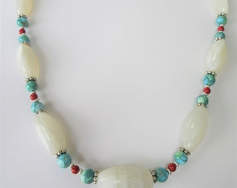 """Native American necklace,White Agate Beads, silver, turquoise, red bead 24"""",freshly rewired strung from repurposed beads,silver hook closure"""