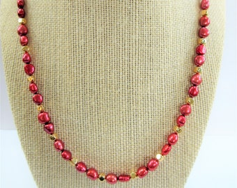 "Genuine Ruby 7 mm pearl Necklace,14K plate soft cube bead 22"" necklace with gold spring clasp/ring, handcrafted with jewelers wire,Honora"